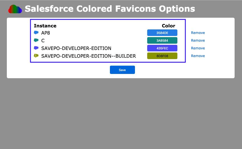 Salesforce Colored Favicons