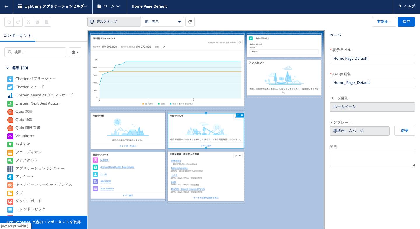 Salesforceのホーム画面