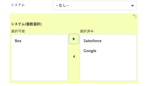 Salesforceの複数選択リスト